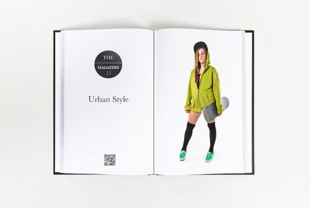 Pretty young girl wearing urban style with skateboard photo