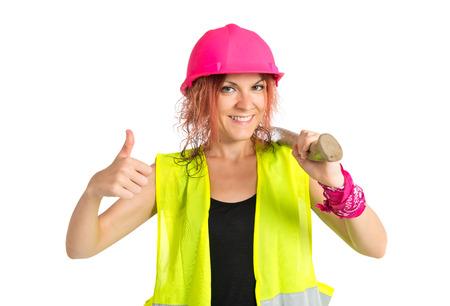 mujer trabajadora: Mujer del trabajador con su uo pulgar sobre fondo blanco