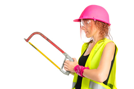 objec: Worker woman with hacksaw over white background