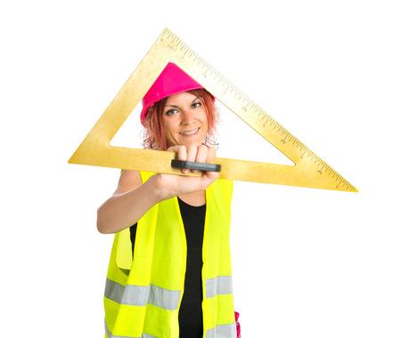 mujer trabajadora: Mujer del trabajador con bisel m�s de fondo blanco Foto de archivo