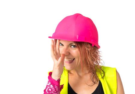 mujer trabajadora: Mujer del trabajador de hacer una broma sobre el fondo blanco