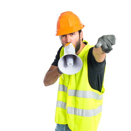 Workman shouting over isolated white background photo