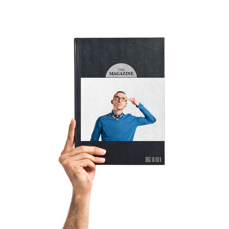 Young man committing suicide printed on book