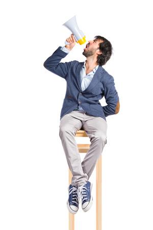 Man shouting over isolated white background photo