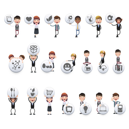 Business people holding buttons over white background Vector