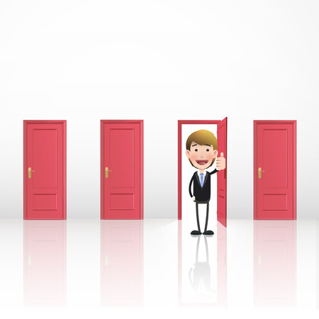 Business people inside door Vector