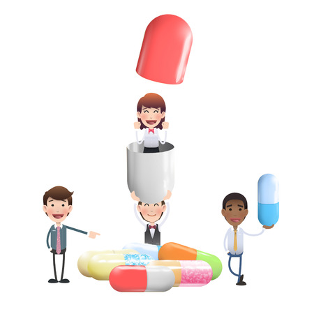 Business people with pills over white background Vector
