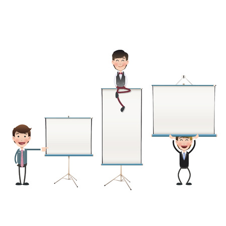 Business people with projector screen over white Vector