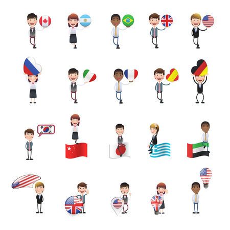 Business people with flags over white. Illustration