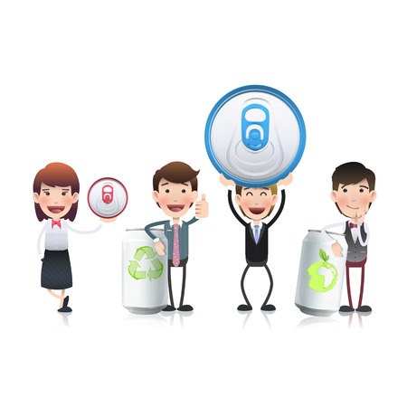Business people with cans over white background Vector