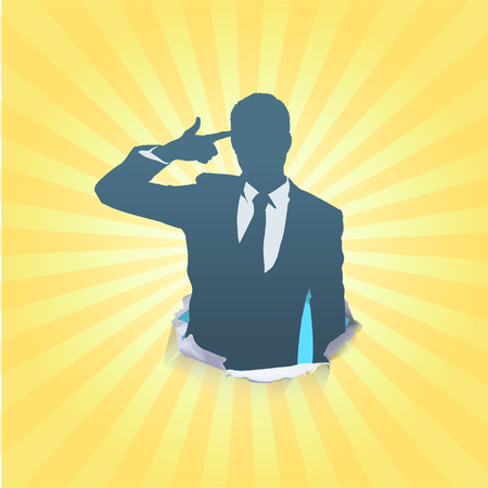 agressive: Silhouette of businessman making gun gesture