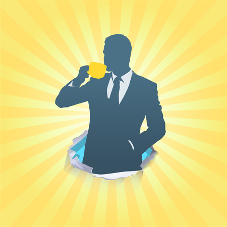 Silhouette of businessman holding a cup of coffee Vector