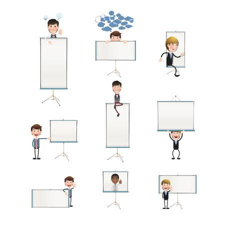 projector screen: Gente di affari con schermo del proiettore su bianco