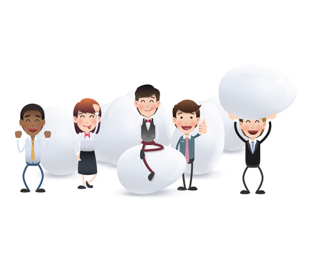 Business people with eggs over white Vector