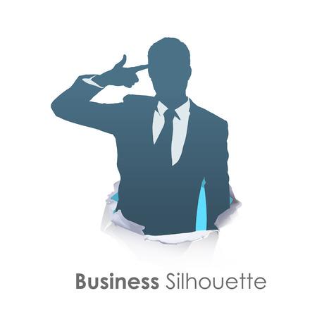 agressive: Silhouette of businessman making gun gesture over white background