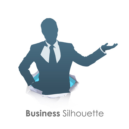 Silhouette of businessman holding something over white background Vector