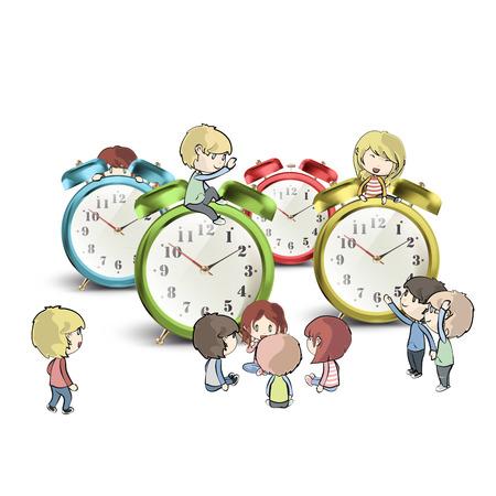 Kids around clocks over white background Vector