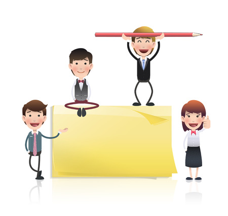 business people with post it over white Vector
