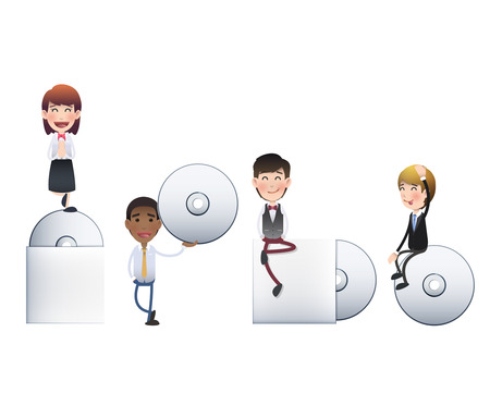 cds: Business people with CDs over white Illustration