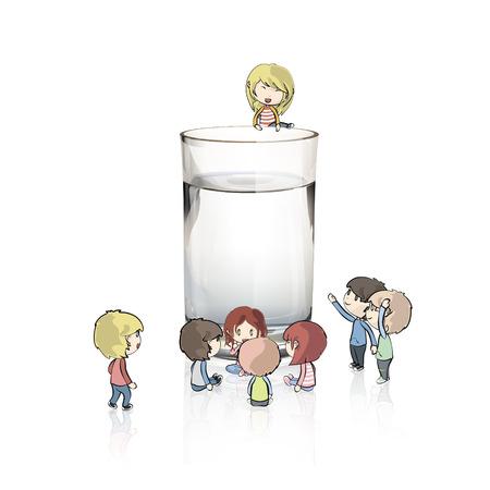 Kids around water glass Vector