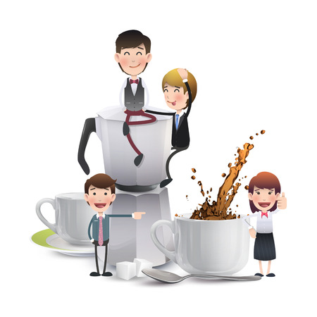 Business people with cup of coffee over white Vector