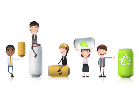 beer and necktie: Business people with cans over white background Illustration