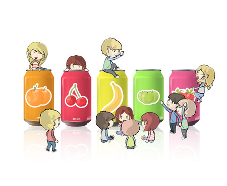 Kids around cans over white background Vector