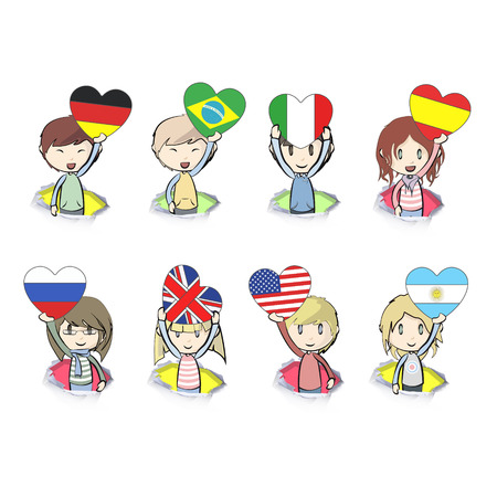Kids with heart flags over white background Vector