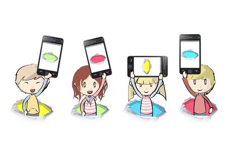 Kinderen met telefoons op een witte achtergrond
