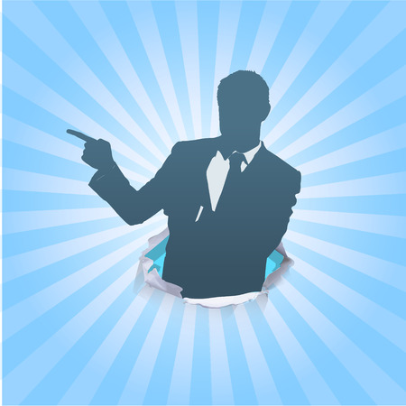 lateral eyes: Silhouette of businessman pointing to the lateral
