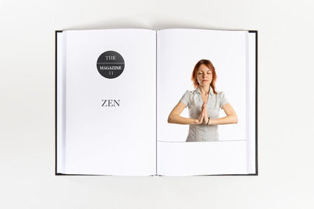 Cute young girl pleading printed on book