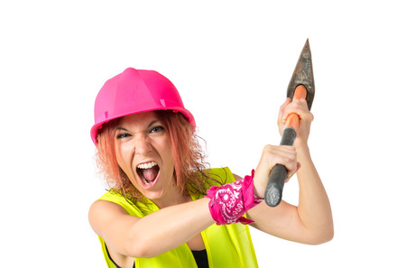 Work woman with ax over white background photo