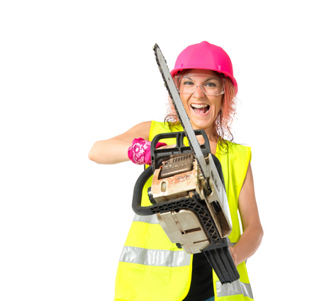 Worker woman with chainsaw over white background photo