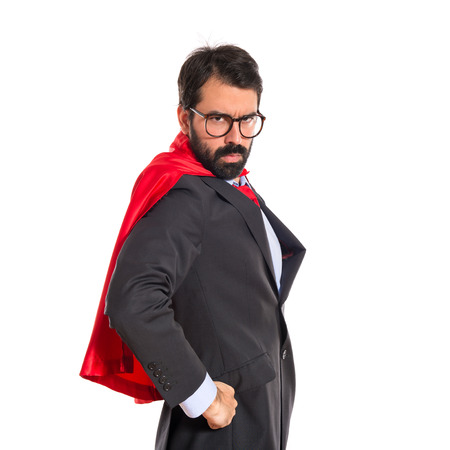 Businessman dressed like superhero photo
