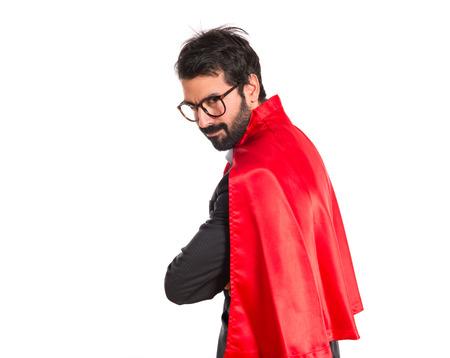 Businessman dressed like superhero photo