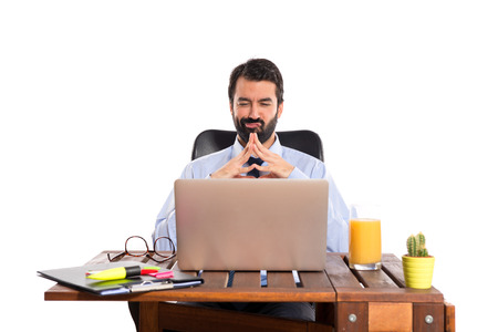 laptot: Businessman working with his laptot Stock Photo