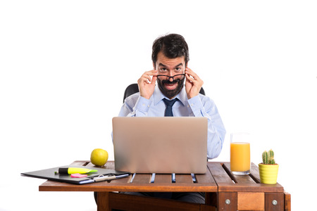 Businessman working with his laptot Stock Photo