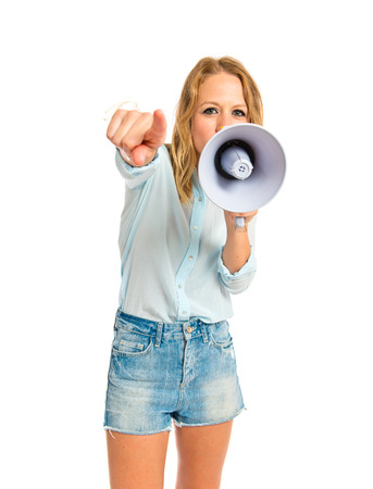 Girl shouting over isolated white background photo