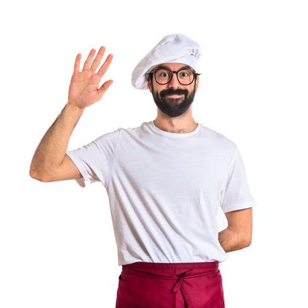 hi hat: Chef saluting over white