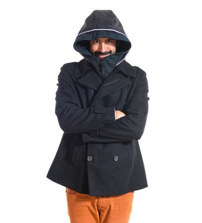 freezing: Man freezing over white Stock Photo