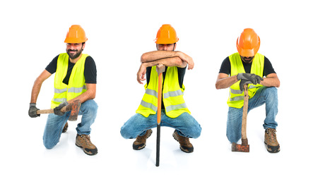 ax man: Workman with ax over white background