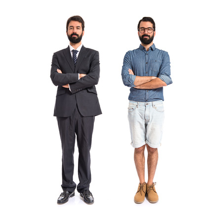 Brothers with his arms crossed over white background photo