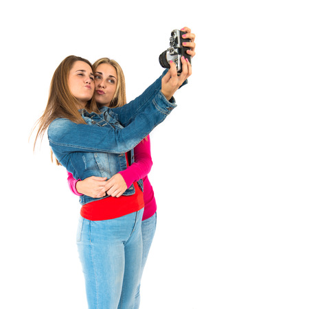 Student women making a selfie photo