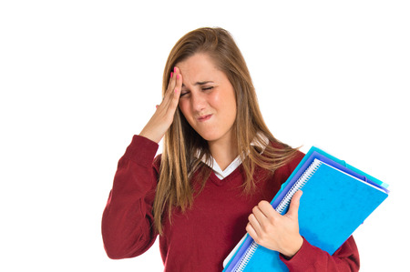 frustrated student: frustrated student over isolated white background