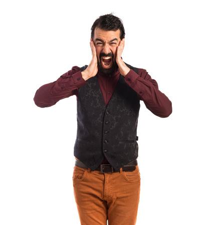 waistcoat: frustrated man wearing waistcoat Stock Photo