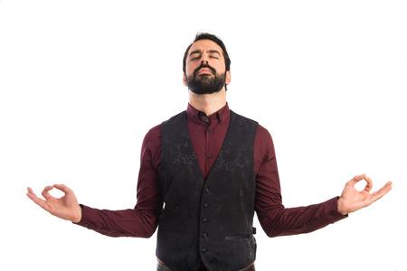 waistcoat: Man wearing waistcoat in zen position