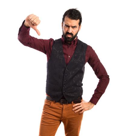 waistcoat: Man wearing waistcoat doing a bad signal