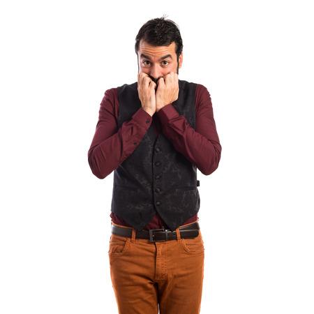 waistcoat: Frightened man wearing waistcoat