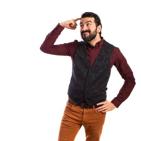 waistcoat: Man wearing waistcoat thinking