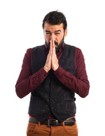 waistcoat: Man wearing waistcoat pleading Stock Photo